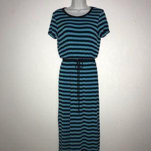 Micheal Kors Soft Stretch Knit Stripe Maxi Dress